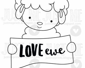 i love ewe digital stamp