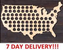 Birthday Gift USA Beer Cap Map Birch Plywood. Fathers Day Gift, Gift for Men, Gifts for Dad, Wall Decor, Gift for Him, Christmas Gift, Beer