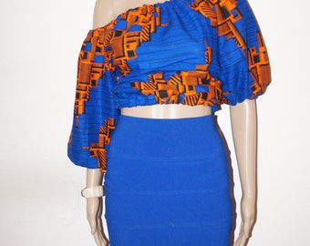 Ankara top, Off shoulder top, african print top, floral print top, top, blouse, crop top, midriff top