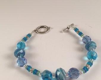 Multifaceted Blue Crystal Bracelet