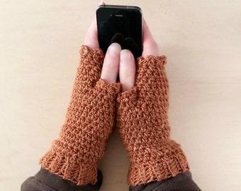Rust Fingerless Gloves, Womens Gift, Rust Womens Winter Gloves, Wool Wrist Warmers, Arm Warmers, Alpaca Fingerless Mitts, Gift for Her