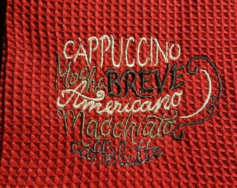 Coffee Cup by names Embroidered hand towel