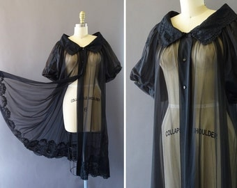 RESERVED 50s Sheer Night Robe- 1950s/ 1960s Vintage Nightgown - Black Sheer and Lace Night Coat w Billowy Sleeves - Open Transparent Robe