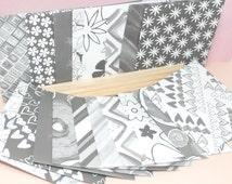 20 Lucky Dip Black, White & Grey Handmade Patterned Mini Envelopes / Memory Pockets For Scrap-Booking etc..