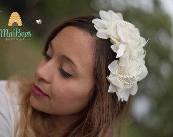 Wedding,Cream Floral Headband,Blue Headband Annd Flowers.