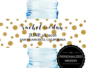 Personalized Wedding Water Bottle Label - Gold Glittter Polkadots - 8 x 2 in. - 25 labels