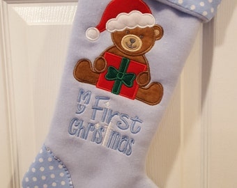 Baby My First Christmas Stocking, Baby Boy Christmas Stocking, Boy Christmas Stocking, Blue Christmas Stocking, Personalized Stocking