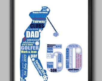 50th birthday gift  for golfer - personalised gift for dad, husband or friend, A4 and framed