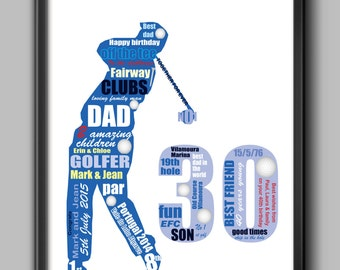 30th birthday gift  for golfer - personalised gift for dad, husband or friend, A4 and framed
