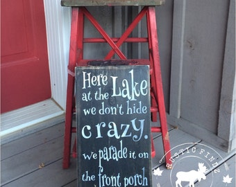 Here At The Lake Wood Sign // lake // cottage decor // martini glass // cottage sign // lake rules // wood painted sign // lake sign
