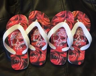 Roses and Skulls Flip Flops