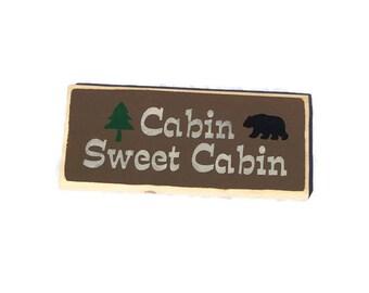 Cabin Sweet Cabin Sign - Cabin Decor - Cabin Wall Decor - Cabin Signs - Cabin Life - Painted Wood Sign - Fast Shipping - Made To Order