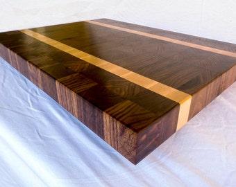End Grain Cutting Board, Walnut/Maple Stripe, Book-Matched