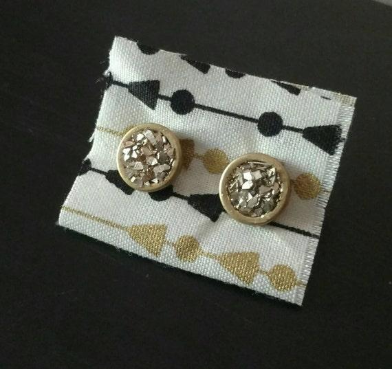 Gold Druzy Earrings - Faux Druzy Earrings - Gold Stud Earrings