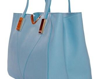 LAFatima Blue Leather Bag/Office Bag/Oversize Tote Bag/Leather Bag/Large Leather Tote Bag/Made in ItalyLeather Work Bag/Handmade Leather Bag