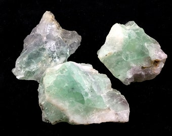 Green Fluorite Three (3)  Raw & Earthy Chunks