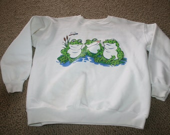 Vtg 3 Frogs on Lily Pads Sweatshirt