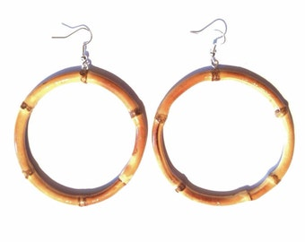 Tiki bamboo hoop earrings