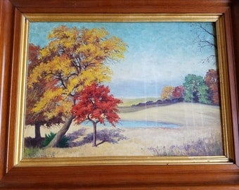 Signed, Framed Countryside Oil Painting