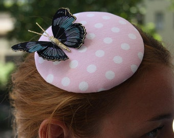 Fascinator pink with white dots and Butterfly