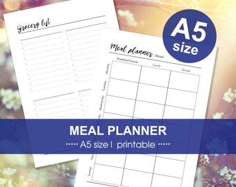 PLANNER INSERTS meal planner   A5 size   Filofax   Kikki K medium   menu plan   grocery list   printable PDF   instant download