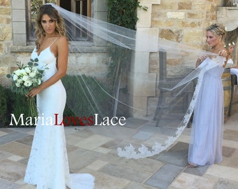 1 Tier Cathedral Lace Bottom Veil -French Chantailly Lace Cathedral Veil With Raw Edge-Long Lace Wedding Veil Bridal Veil 617