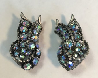 Vintage Blue Rhinetone Earrings