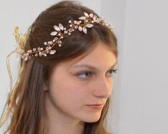 Wedding Hair Vine, Bridal Crystal Hair Vine, Gold Hair Vine, Gold Brial Hair Vine, Wedding Headpiece, Wedding Crown, Bridal Headpiece