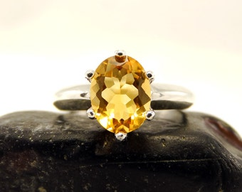 Citrine ring, citrine rings sterling silver, genuine citrine ring, ring citrine, silver ring 8 mm, ring size 4 5 6 7 8 9 10 11 12 13