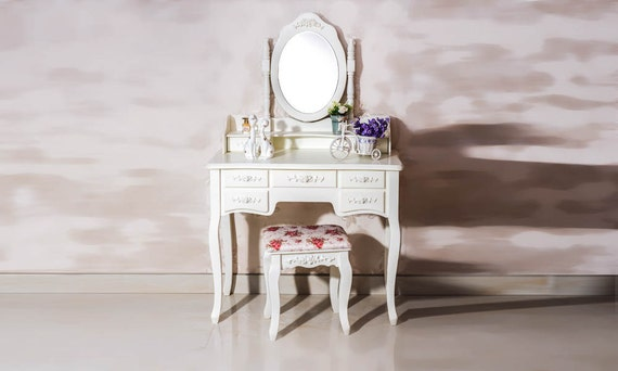 vintage vanity table makeup table 7 drawer with by