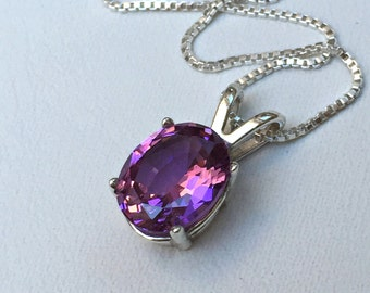 925 Sterling Silver pendant created 3 ct. Rhodolite Necklace Jewelry