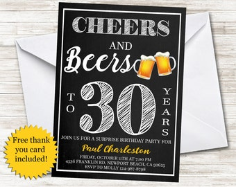 Cheers and Beers Invitation Mens Guys Invite Adult 5x7 Birthday Party Chalkboard Digital File