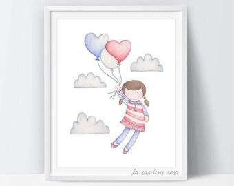 Nursery balloon print  Baby's room decor Sky Nursery wall art Girl room print Kids room art Children wall art