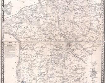 1851 Map of Hunterdon County New Jersey Lambertville