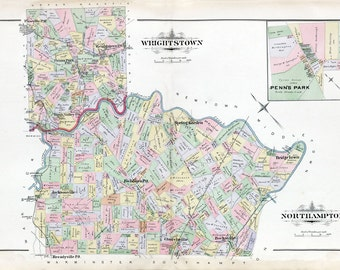 1891 Map of Wrightstown and Northhampton Township Bucks County Pennsylvania