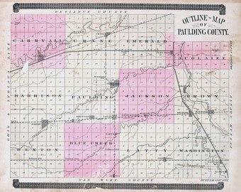 1892 Map of Paulding County Ohio