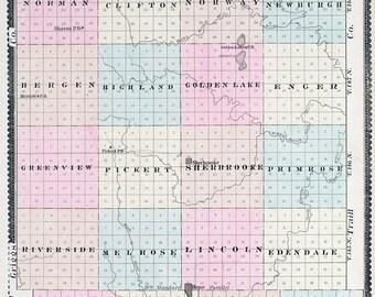 1892 Map of Steele County North Dakota