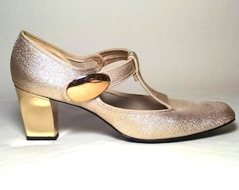 Gold Glitz heels/ Party shoes/ 1960s/Wedding Shoes