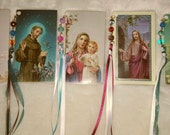 religious card bookmarkers with glass beads and ribbons, set of 5, laminated, handmade