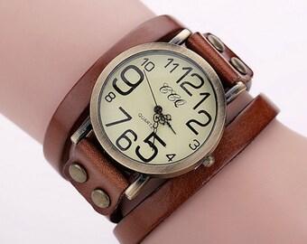 Leather wrap retro watch
