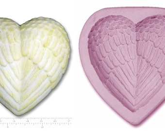 ANGEL WINGS HEART #2 Large Craft Sugarcraft Sculpey Soap Wax Resin Chocolate Plaster Silicone Rubber Mould