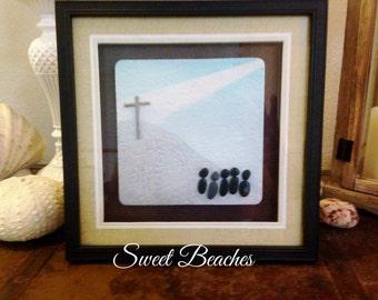 "Pebble Art  ""Worship ""  Beach Decor Stone Rock People Gift"