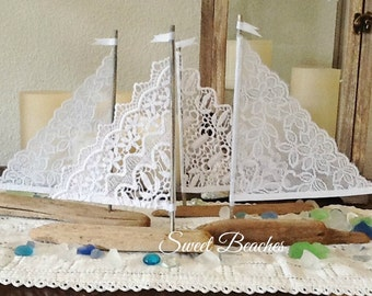 4 White Lace Driftwood Sailboat Seaside Nautical Resort Decor Wedding Center Peice