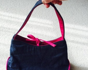 Quality demin and fuchsia handbag