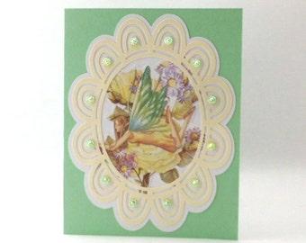 Enchanted Faerie Note Card, Blank Inside, Embellished, Cut Paper Handmade Card, TwoSistersGreetings