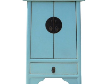 Perfect Chinese Oriental Light Blue A Shape End Table Nightsand Cs1338E