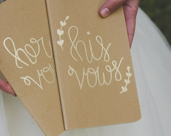 His and Her Vows Gold Embossed Moleskine Kraft Journal, Wedding Vows, Gold Embossed Journal