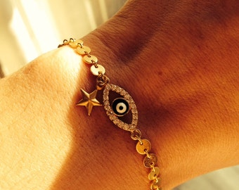 Gold Plated Evil Eye Bracelet with Star Charm