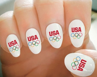 Nail decal etsy nail decals olympic rings usa nail tattoos water transfer nail decals fashionable nail sciox Image collections