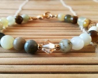 Fire New Jade, Swarovski Crystal Hand Strung Bracelet